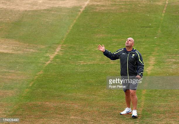 Darren Lehmann coach of Australia looks on during an Australian Training Session at the County Ground on July 24 2013 in Brighton England