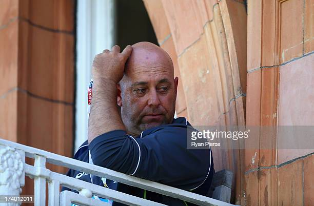 Darren Lehmann coach of Australia looks on during day two of the 2nd Investec Ashes Test match between England and Australia at Lord's Cricket Ground...