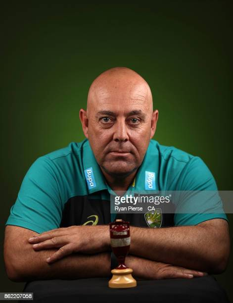 Darren Lehmann coach of Australia poses during the Australia Test cricket team portrait session at Intercontinental Double Bay on October 15 2017 in...