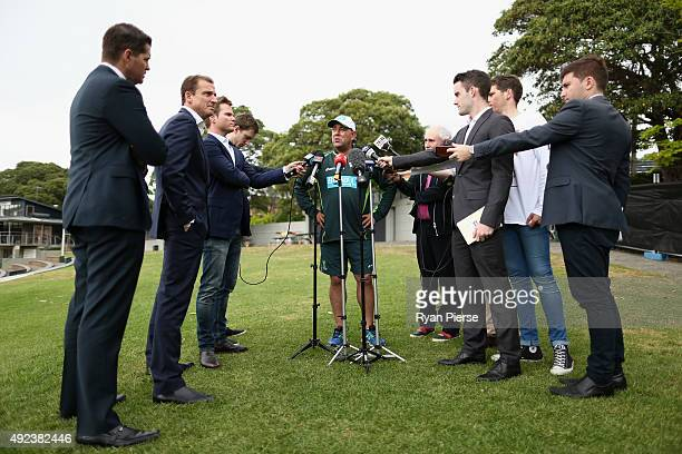Darren Lehmann coach of Australia speaks to the media during the Australian Test Players red ball player camp at Hurstville Oval on October 13 2015...