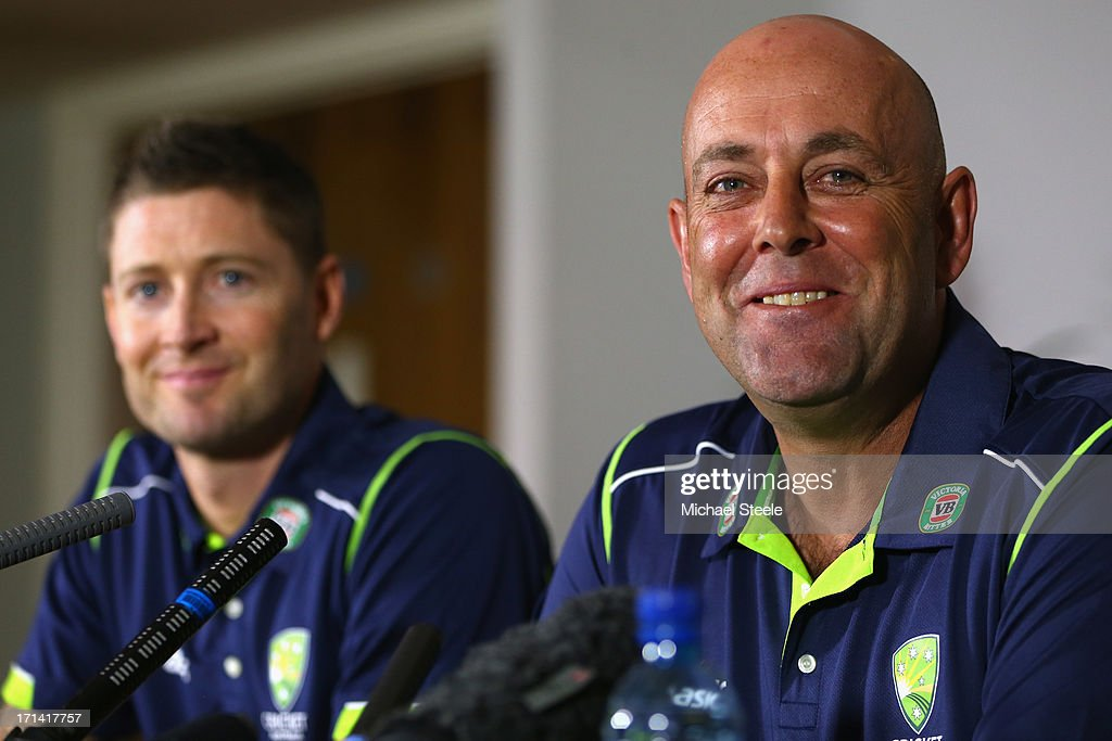 <a gi-track='captionPersonalityLinkClicked' href=/galleries/search?phrase=Darren+Lehmann+-+Cricket+Player&family=editorial&specificpeople=171311 ng-click='$event.stopPropagation()'>Darren Lehmann</a> (R) the new coach of Australia address the media alongside captain Michael Clarke (L) during a Australia cricket press conference following the sacking of head coach Mickey Arthur on June 24, 2013 in Bristol, England.