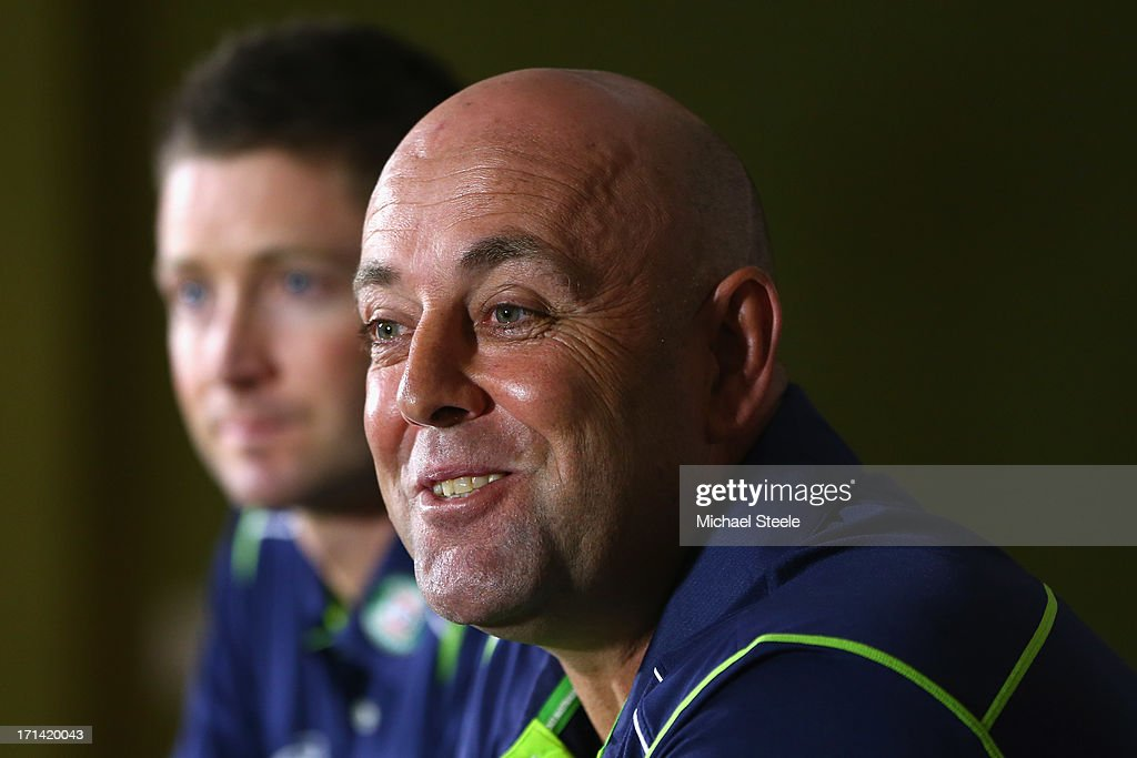 <a gi-track='captionPersonalityLinkClicked' href=/galleries/search?phrase=Darren+Lehmann+-+Cricket+Player&family=editorial&specificpeople=171311 ng-click='$event.stopPropagation()'>Darren Lehmann</a> (R) the new coach of Australia address the media alongside captain Michael Clarke (L) during the Australia cricket press conference following the sacking of head coach Mickey Arthur on June 24, 2013 in Bristol, England.
