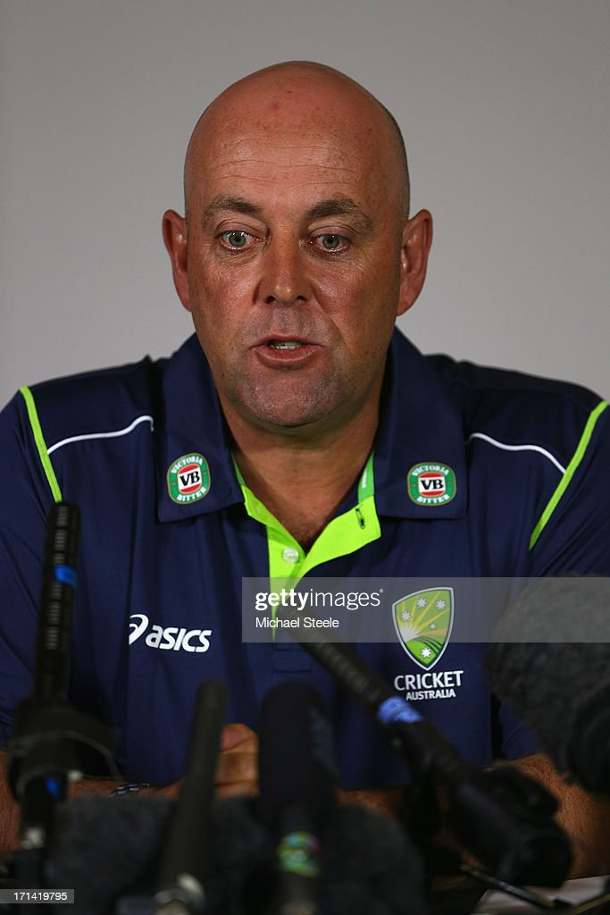 <a gi-track='captionPersonalityLinkClicked' href=/galleries/search?phrase=Darren+Lehmann+-+Cricket+Player&family=editorial&specificpeople=171311 ng-click='$event.stopPropagation()'>Darren Lehmann</a> the new coach of Australia address the media during the Australia cricket press conference following the sacking of head coach Mickey Arthur on June 24, 2013 in Bristol, England.