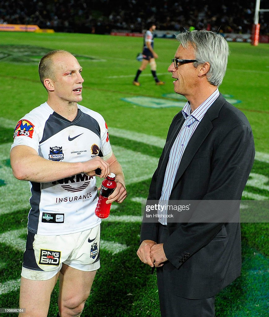 <a gi-track='captionPersonalityLinkClicked' href=/galleries/search?phrase=Darren+Lockyer&family=editorial&specificpeople=206303 ng-click='$event.stopPropagation()'>Darren Lockyer</a> of the Broncos speaks to NRL CEO <a gi-track='captionPersonalityLinkClicked' href=/galleries/search?phrase=David+Gallop&family=editorial&specificpeople=579322 ng-click='$event.stopPropagation()'>David Gallop</a> after playing his 350th NRL match at the end of the round 23 NRL match between the North Queensland Cowboys and the Brisbane Broncos at Dairy Farmers Stadium on August 12, 2011 in Townsville, Australia.