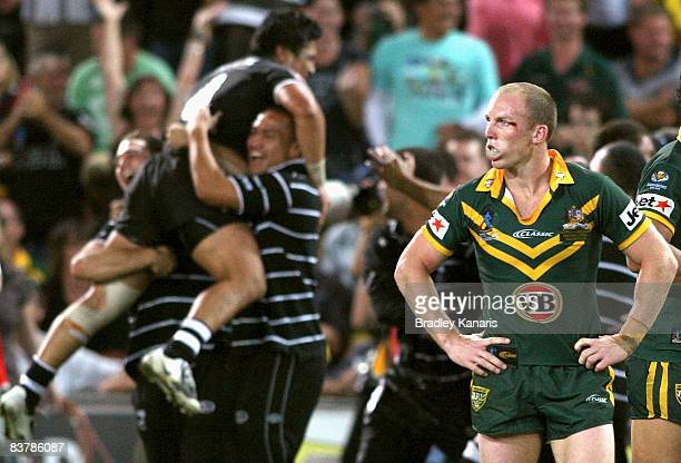 Darren Lockyer of the Kangaroos is dejected after losing the 2008 Rugby League World Cup Final match between the Australian Kangaroos and the New...