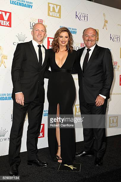 Darren Lockyer Yvonne Sampson and Wally Lewis arrive at the 58th Annual Logie Awards at Crown Palladium on May 8 2016 in Melbourne Australia