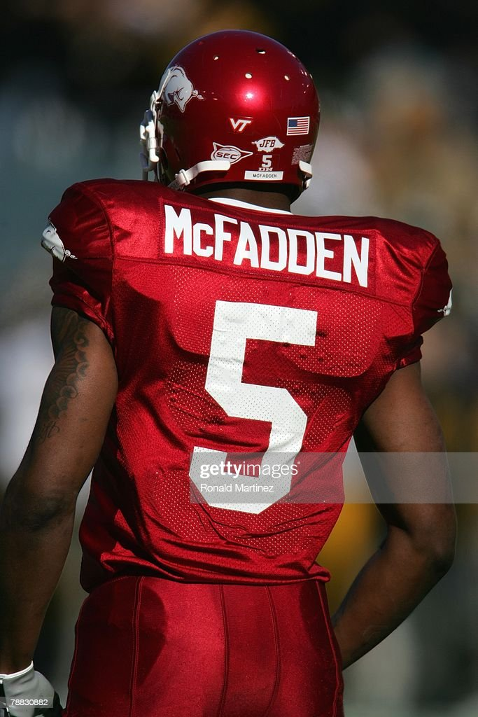 Darren McFadden of the Arkansas Razorbacks looks on against the Missouri Tigers during the ATT Cotton Bowl Classic on January 1 2008 at the Cotton...