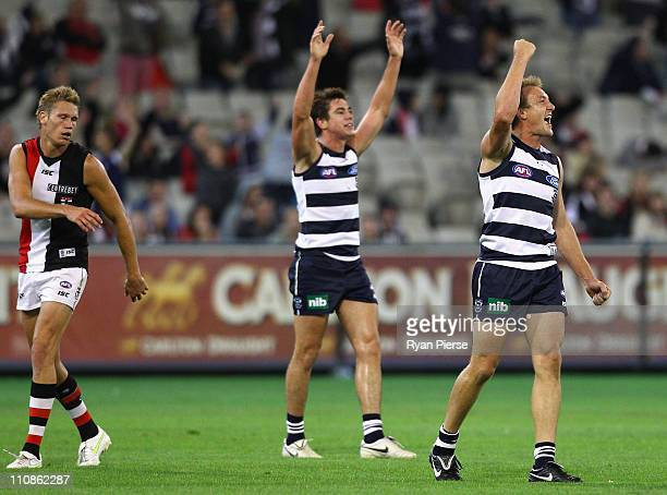 Darren Milburn of the Cats celebrates on the final siren during the round one AFL match between the Geelong Cats and the St Kilda Saints at Melbourne...