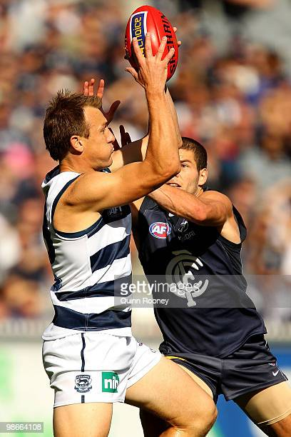 Darren Milburn of the Cats marks during the round five AFL match between the Carlton Blues and the Geelong Cats at Melbourne Cricket Ground on April...