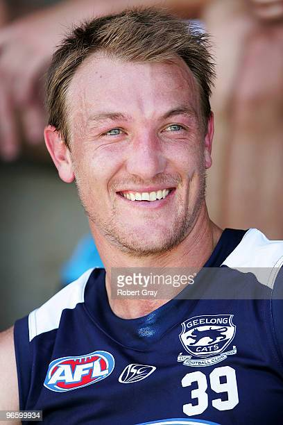 Darren Milburn sits on the bench during a Geelong Cats intraclub AFL match at Gipps Road Park on February 12 2010 in Sydney Australia