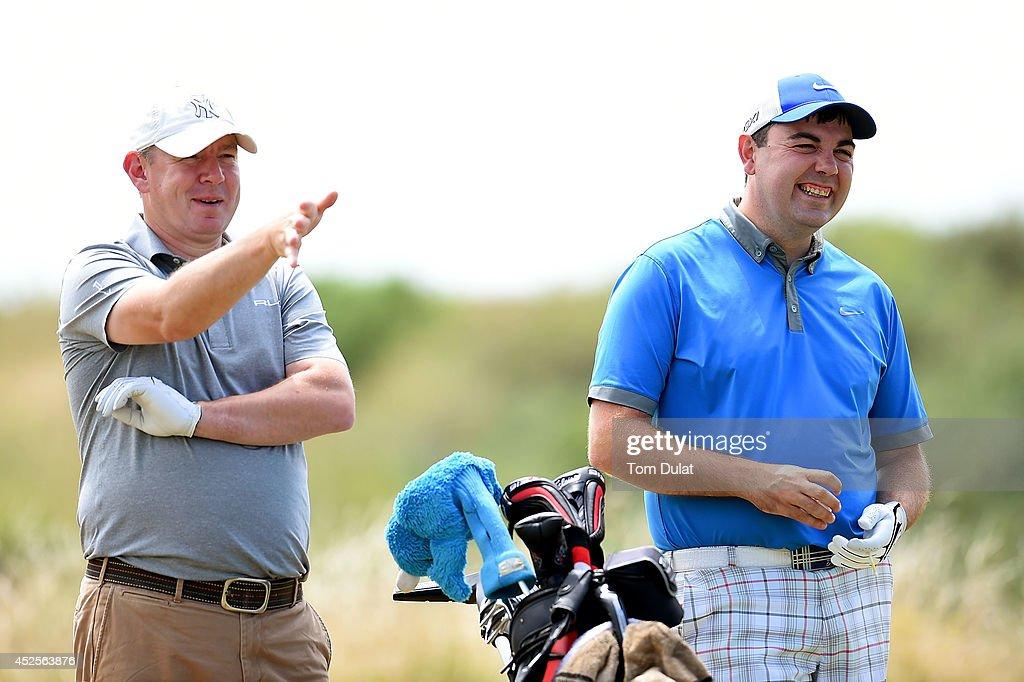 Darren Murphy (L) and Adam Cook (R) of Stonebridge Golf Club during the Lombard Trophy West Regional Qualifier at Burnham and Berrow Golf Club on July 23, 2014 in Burnham-on-Sea, England.