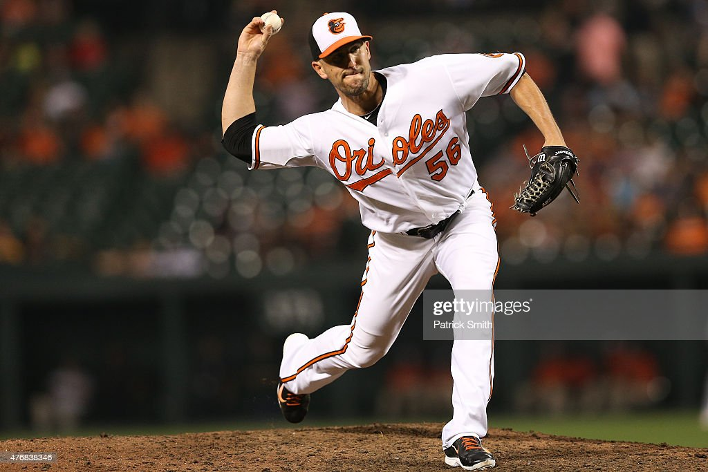 Darren O'Day of the Baltimore Orioles in action against the Boston Red Sox at Oriole Park at Camden Yards on June 10 2015 in Baltimore Maryland The...