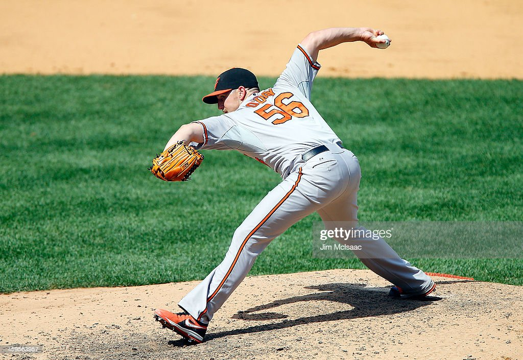 Darren O'Day of the Baltimore Orioles in action against the New York Yankees at Yankee Stadium on July 7 2013 in the Bronx borough of New York City...