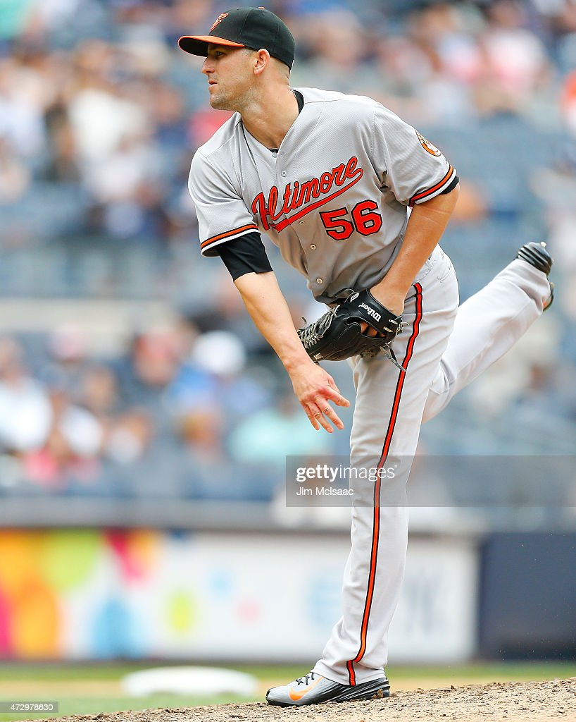 Darren O'Day of the Baltimore Orioles in action against the New York Yankees at Yankee Stadium on May 9 2015 in the Bronx borough of New York City...