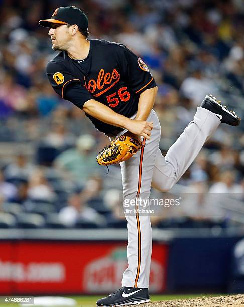 Darren O'Day of the Baltimore Orioles in action against the New York Yankees at Yankee Stadium on July 5 2013 in the Bronx borough of New York City...
