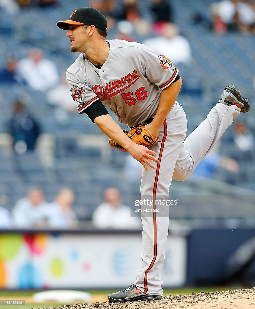 Darren O'Day of the Baltimore Orioles in action against the New York Yankees at Yankee Stadium on April 8 2014 in the Bronx borough of New York City...