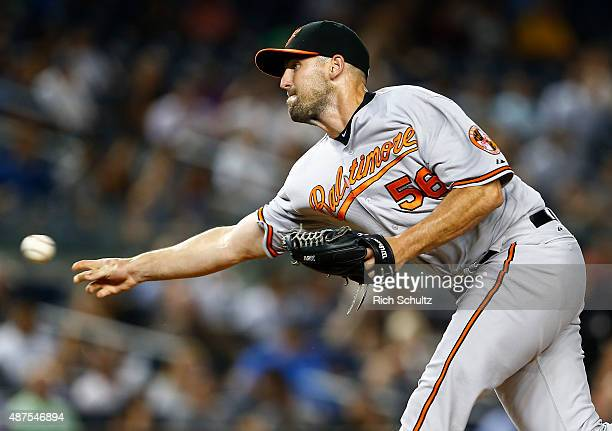 Darren O'Day of the Baltimore Orioles in action against the New York Yankees at Yankee Stadium on September 9 2015 in the Bronx borough of New York...
