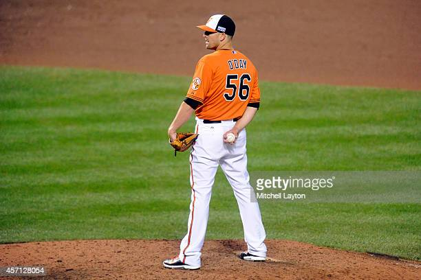 Darren O'Day of the Baltimore Orioles looks to throw a pitch against the Kansas City Royals during Game Two of the American League Championship...