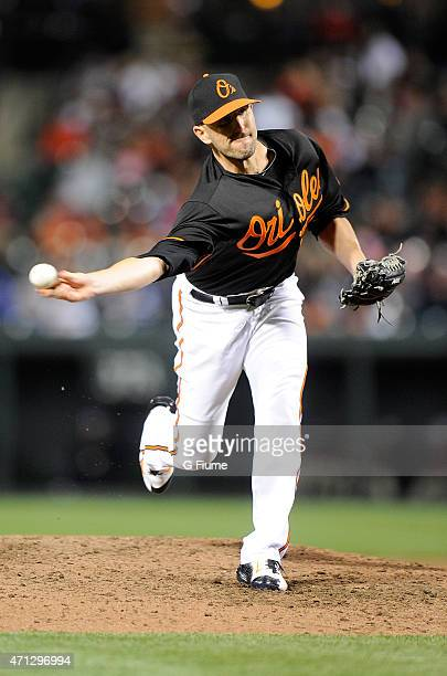 Darren O'Day of the Baltimore Orioles pitches against the Boston Red Sox at Oriole Park at Camden Yards on April 24 2015 in Baltimore Maryland