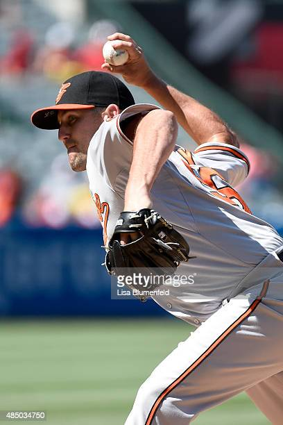 Darren O'Day of the Baltimore Orioles pitches against the Los Angeles Angels of Anaheim at Angel Stadium of Anaheim on August 9 2015 in Anaheim...