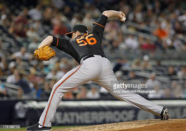Darren O'Day of the Baltimore Orioles pitches against the New York Yankees at Yankee Stadium on July 5 2013 in the Bronx borough of New York City