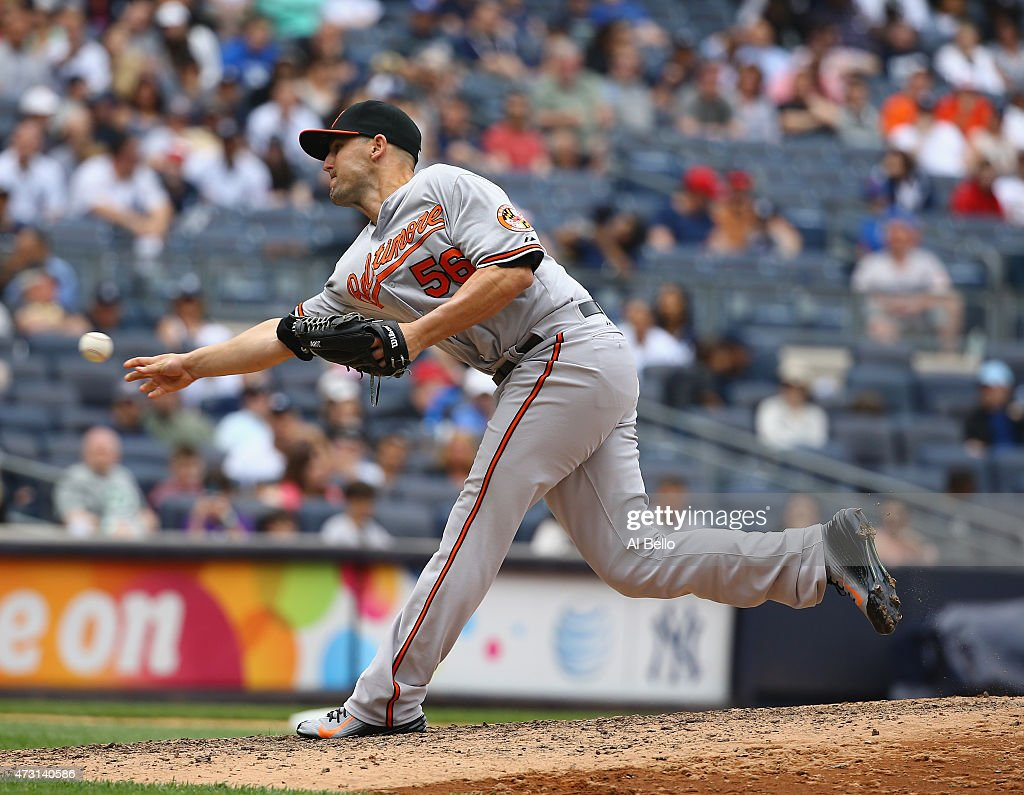Darren O'Day of the Baltimore Orioles pitches against the New York Yankees during their game at Yankee Stadium on May 9 2015 in New York City