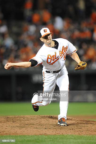 Darren O'Day of the Baltimore Orioles pitches during a baseball game against the Toronto Blue Jays on September 16 2014 at Oriole Park at Camden...