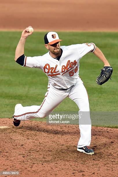 Darren O'Day of the Baltimore Orioles pitches during a baseball game against the New York Yankees at Oriole Park at Camden Yards on October 4 2015 in...