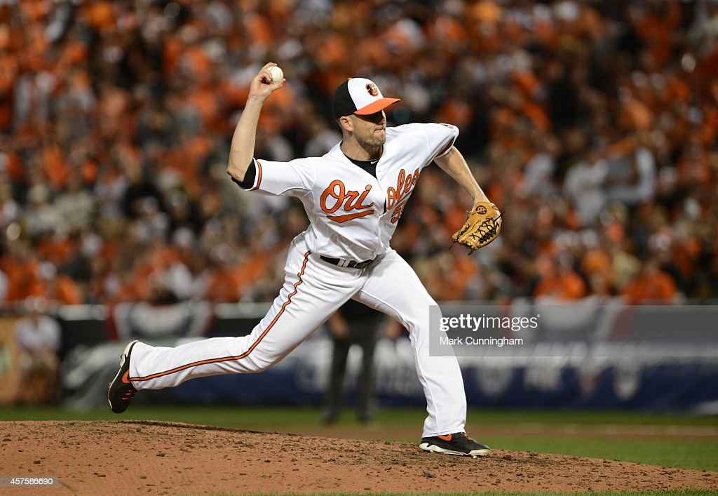 Darren O'Day of the Baltimore Orioles pitches during Game One of the American League Division Series against the Detroit Tigers at Oriole Park at...