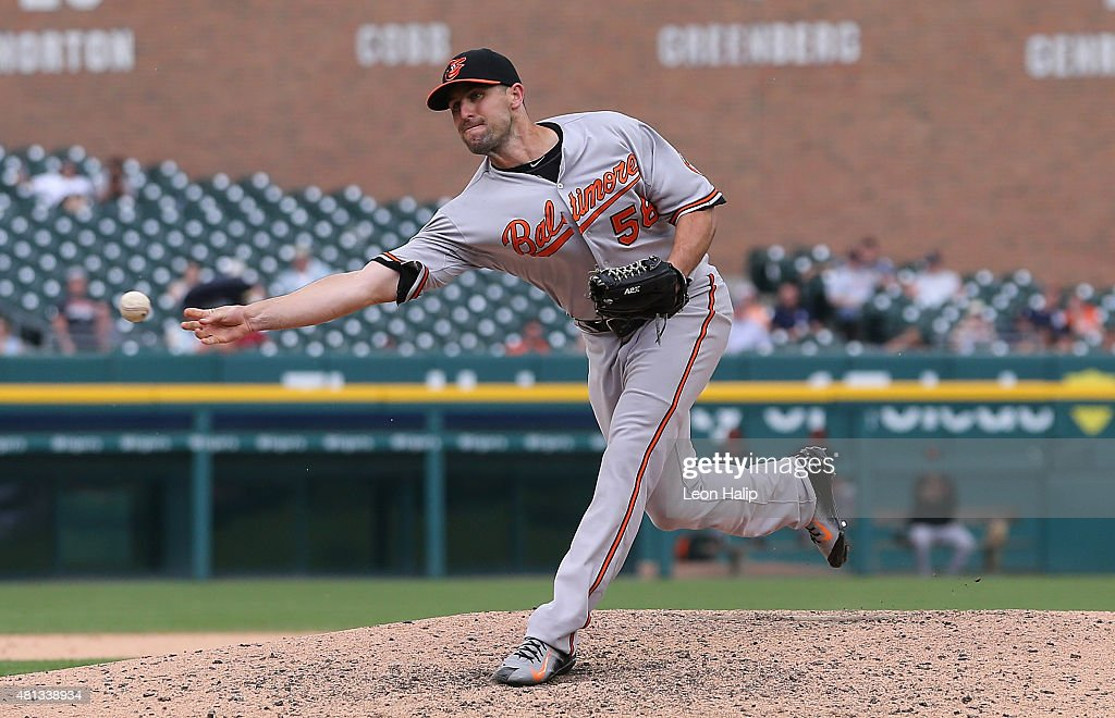 Darren O'Day of the Baltimore Orioles pitches during the ninth inning of the game against the Detroit Tigers on July 19 2015 at Comerica Park in...