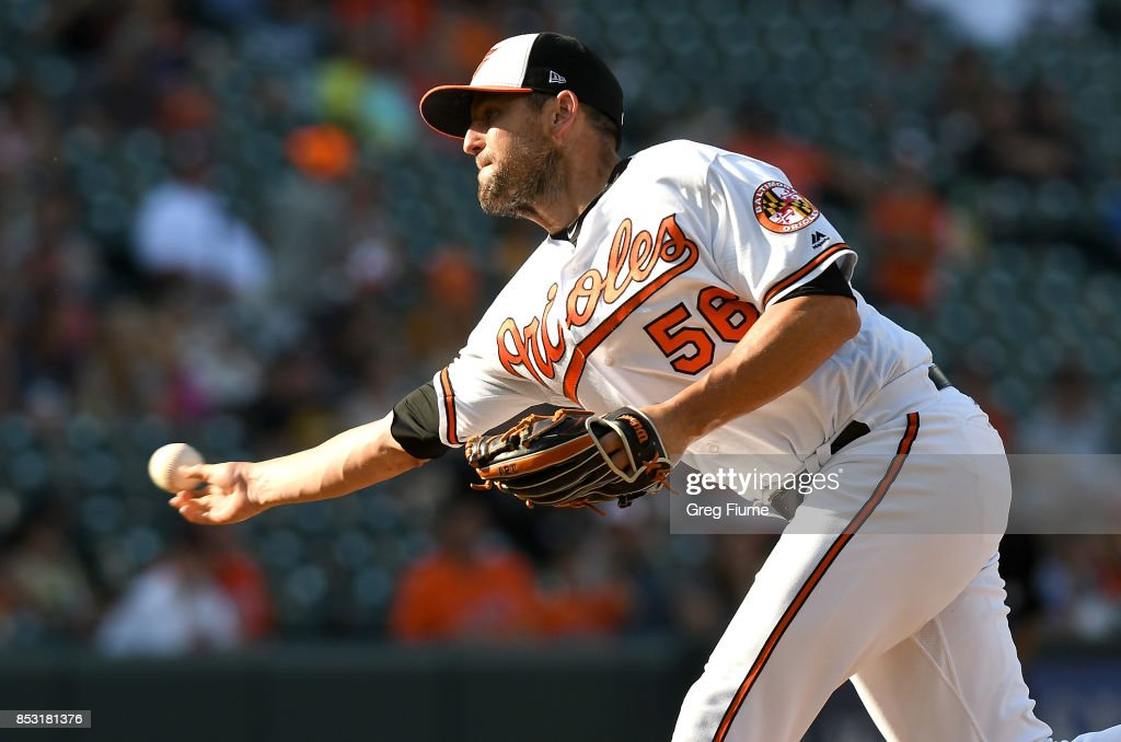 Darren O'Day #56 of the Baltimore Orioles pitches in the eighth inning against the Tampa Bay Rays at Oriole Park at Camden Yards on September 24, 2017 in Baltimore, Maryland.