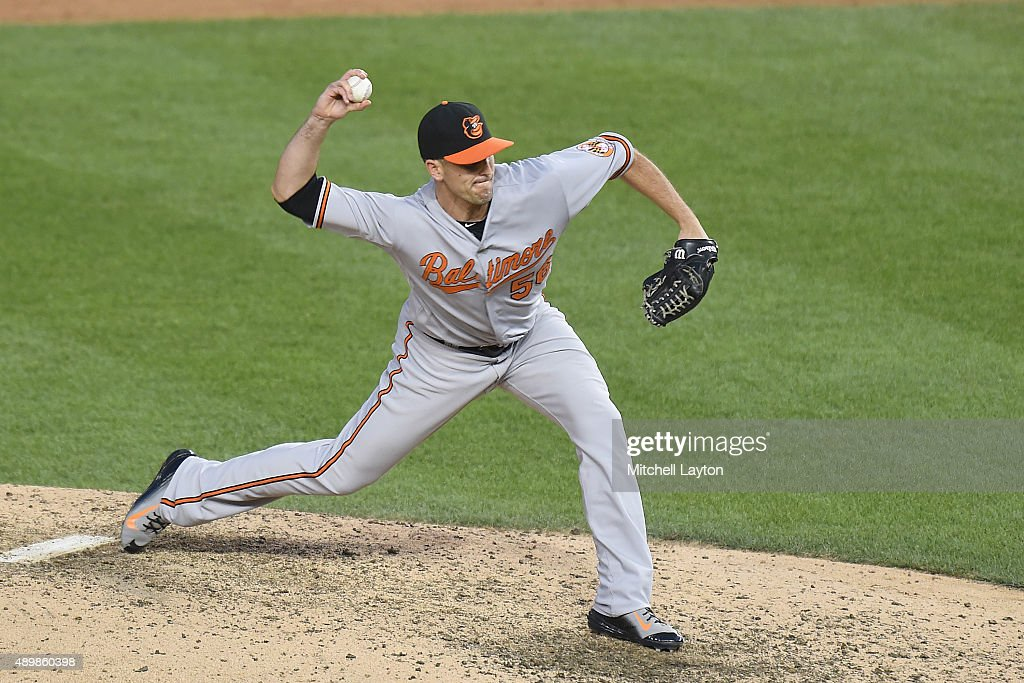 Darren O'Day of the Baltimore Orioles pitches in the ninth inning for his 6th save of season during a baseball game against the Washington Nationals...