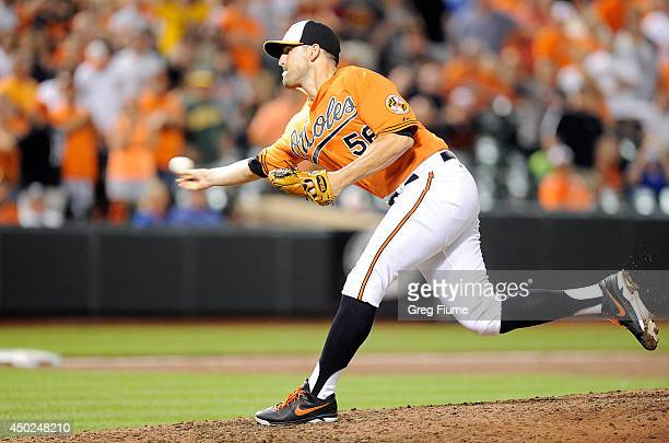 Darren O'Day of the Baltimore Orioles pitches in the ninth inning against the Oakland Athletics at Oriole Park at Camden Yards on June 7 2014 in...
