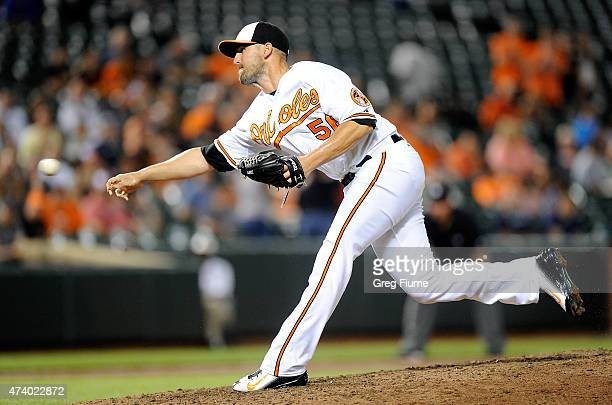 Darren O'Day of the Baltimore Orioles pitches in the ninth inning against the Seattle Mariners at Oriole Park at Camden Yards on May 19 2015 in...