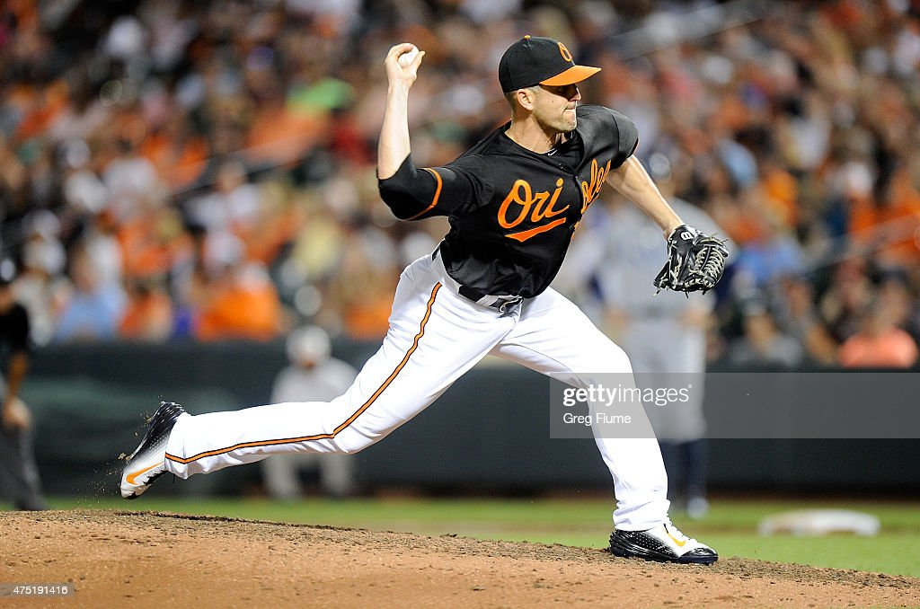 Darren O'Day of the Baltimore Orioles pitches in the ninth inning against the Tampa Bay Rays at Oriole Park at Camden Yards on May 29 2015 in...