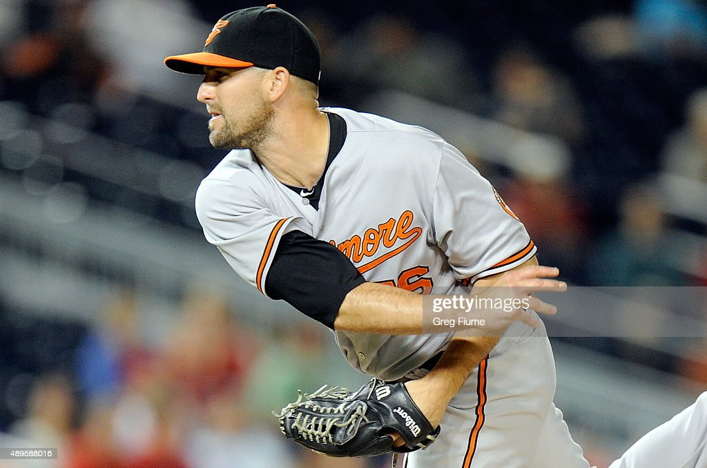 Darren O'Day of the Baltimore Orioles pitches in the ninth inning against the Washington Nationals at Nationals Park on September 22 2015 in...