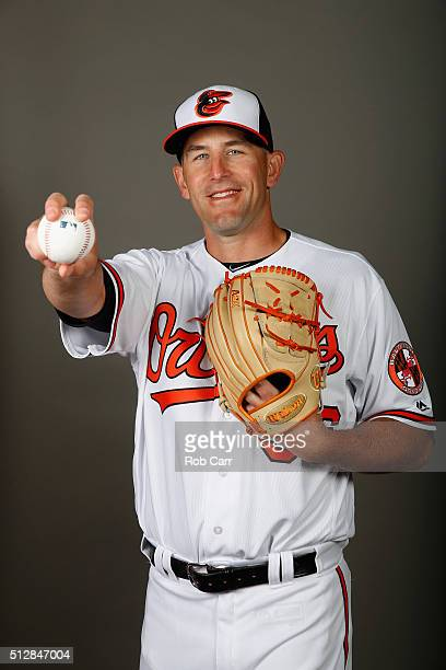 Darren O'Day of the Baltimore Orioles poses during photo day at Ed Smith Stadium on February 28 2016 in Sarasota Florida