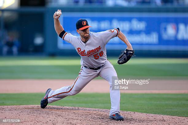 Darren O'Day of the Baltimore Orioles throws a pitch in the sixth inning during Game Four of the American League Championship Series at Kauffman...