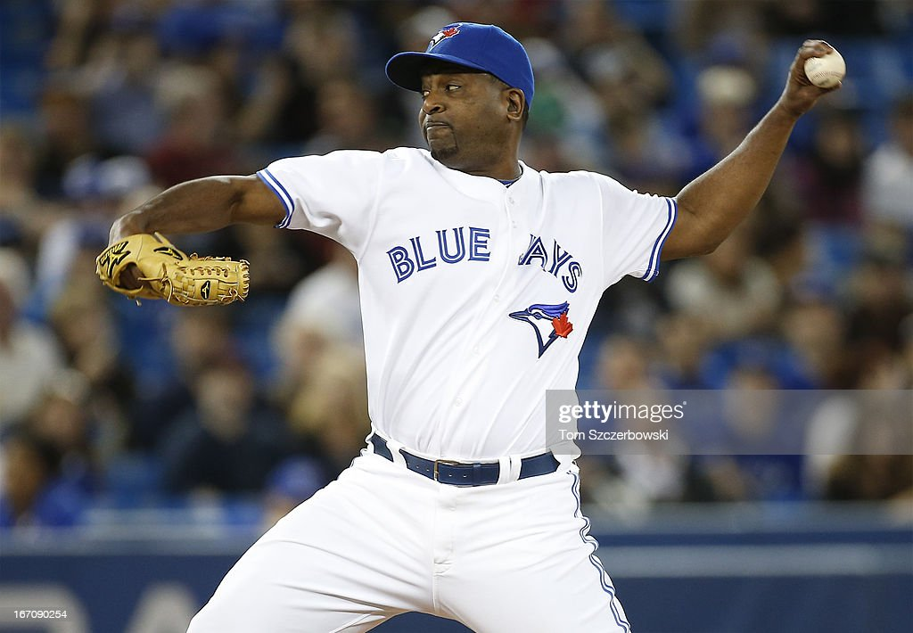 <a gi-track='captionPersonalityLinkClicked' href=/galleries/search?phrase=Darren+Oliver&family=editorial&specificpeople=220688 ng-click='$event.stopPropagation()'>Darren Oliver</a> #38 of the Toronto Blue Jays delivers a pitch during MLB game action against the New York Yankees on April 19, 2013 at Rogers Centre in Toronto, Ontario, Canada.