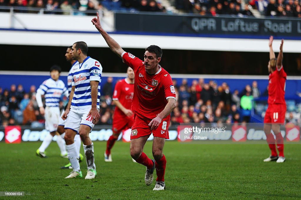Darren Potter of Milton Keynes Dons celebrates scoring his sides fourth goal during the FA Cup with Budweiser Fourth Round match between Queens Park Rangers and Milton Keynes Dons at Loftus Road on January 26, 2013 in London, England.