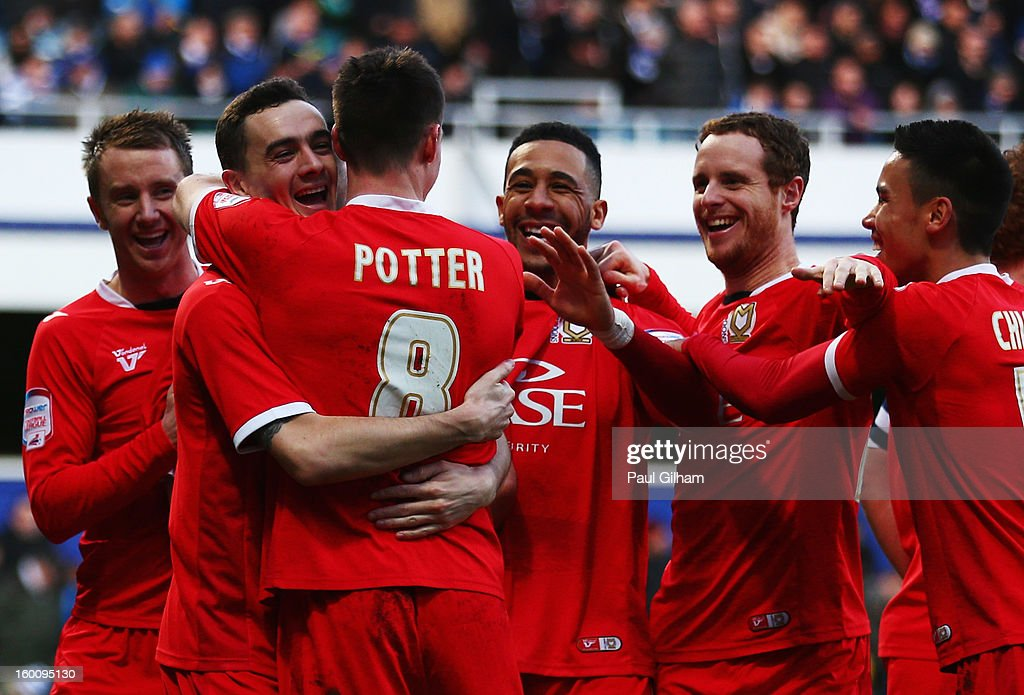 Darren Potter of Milton Keynes Dons celebrates with team mates after scoring his sides fourth goal during the FA Cup with Budweiser Fourth Round match between Queens Park Rangers and Milton Keynes Dons at Loftus Road on January 26, 2013 in London, England.