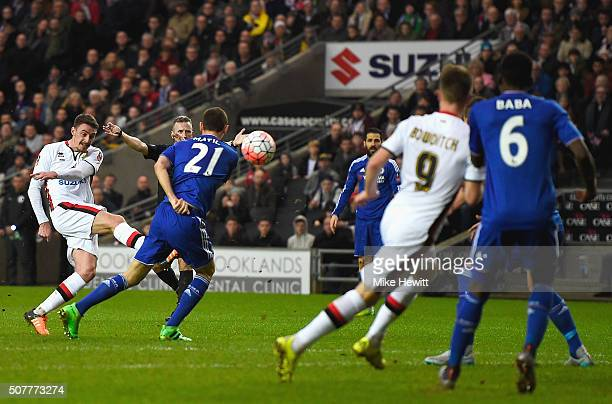 Darren Potter of MK Dons scores his team's opening goal during the Emirates FA Cup Fourth Round match between Milton Keynes Dons and Chelsea at...
