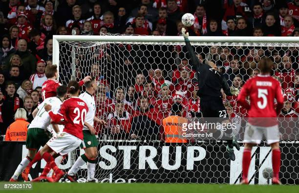 Darren Randolph of the Republic of Ireland makes a save during the FIFA 2018 World Cup Qualifier PlayOff First Leg between Denmark and Republic of...