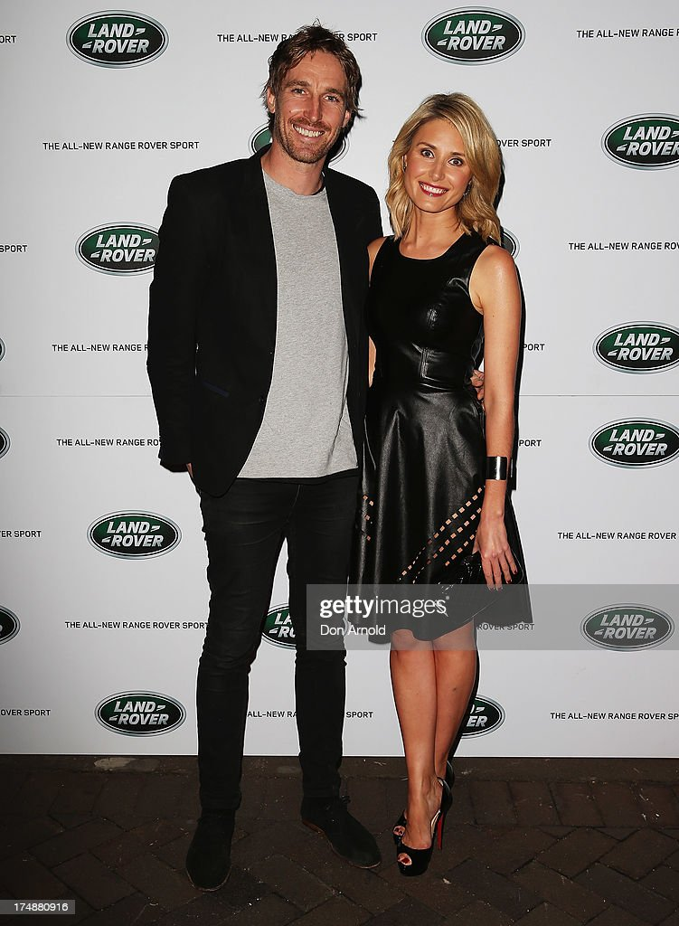 Darren Robertson and Magdalena Roze arrive at a Range Rover Sport launch event at the Overseas Passenger Terminal on July 29, 2013 in Sydney, Australia.