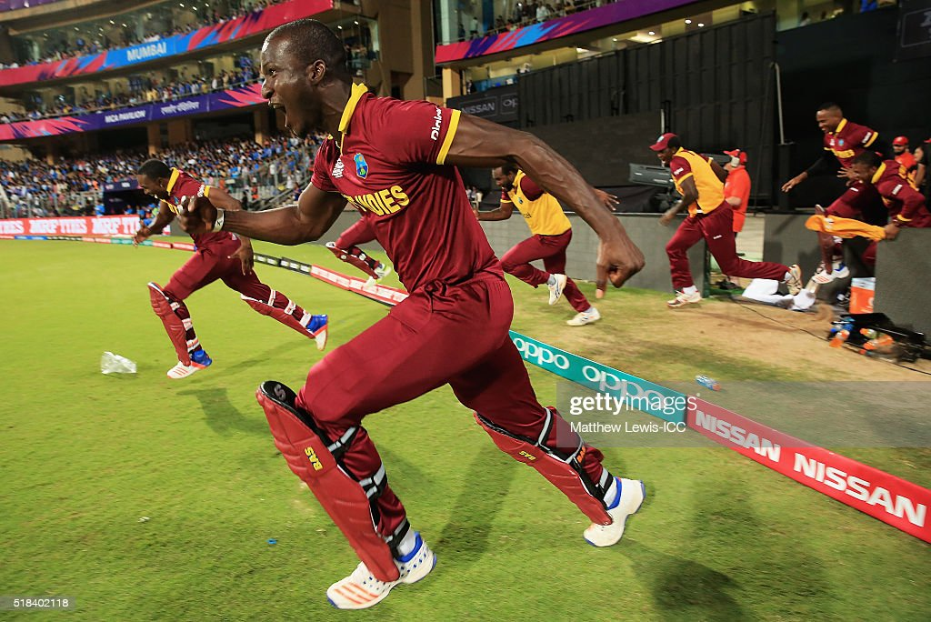 <a gi-track='captionPersonalityLinkClicked' href=/galleries/search?phrase=Darren+Sammy&family=editorial&specificpeople=2920912 ng-click='$event.stopPropagation()'>Darren Sammy</a>, Captain of the West Indies celebrates his teams win over India during the ICC World Twenty20 India 2016 Semi-Final match between West Indies and India at the Wankhede Stadium on March 31, 2016 in Mumbai, India.