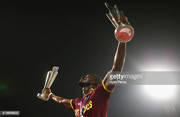 Darren Sammy Captain of the West Indies celebrates victory during the ICC World Twenty20 India 2016 Final match between England and West Indies at...