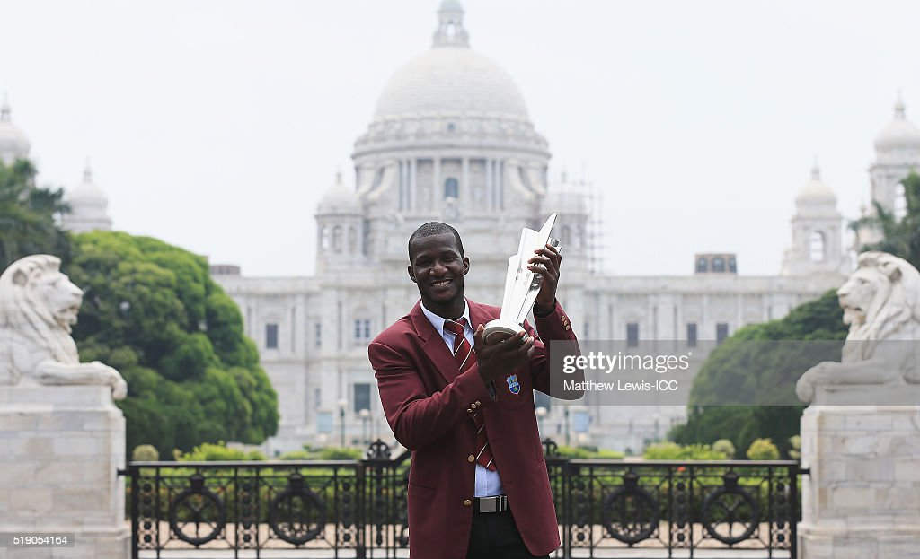 <a gi-track='captionPersonalityLinkClicked' href=/galleries/search?phrase=Darren+Sammy&family=editorial&specificpeople=2920912 ng-click='$event.stopPropagation()'>Darren Sammy</a>, Captain of the West Indies poses with the trophy during a photocall after winning the Final of the ICC Men's World Twenty20 on April 4, 2016 in Kolkata, India.