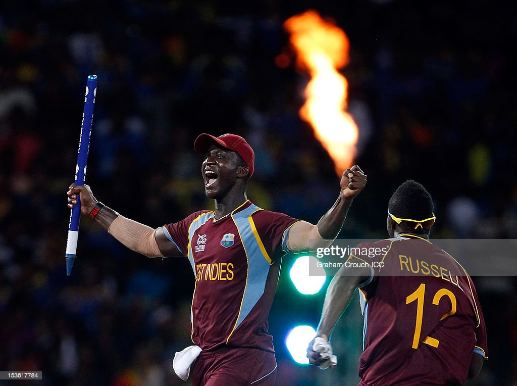 <a gi-track='captionPersonalityLinkClicked' href=/galleries/search?phrase=Darren+Sammy&family=editorial&specificpeople=2920912 ng-click='$event.stopPropagation()'>Darren Sammy</a> captain of West Indies celebrates after defeating Sri Lanka in the ICC World Twenty20 2012 Final between Sri Lanka and West Indies at R. Premadasa Stadium on October 7, 2012 in Colombo, Sri Lanka.