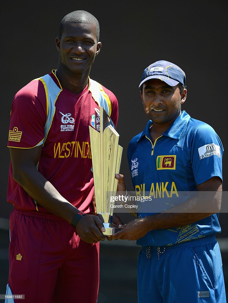 <a gi-track='captionPersonalityLinkClicked' href=/galleries/search?phrase=Darren+Sammy&family=editorial&specificpeople=2920912 ng-click='$event.stopPropagation()'>Darren Sammy</a>, captain of West Indies, <a gi-track='captionPersonalityLinkClicked' href=/galleries/search?phrase=Mahela+Jayawardene&family=editorial&specificpeople=213707 ng-click='$event.stopPropagation()'>Mahela Jayawardene</a>, captain of Sri Lanka pose with the ICC World T20 trophy ahead of the 2012 ICC World Twenty20 Final at R. Premadasa Stadium on October 6, 2012 in Colombo, Sri Lanka.