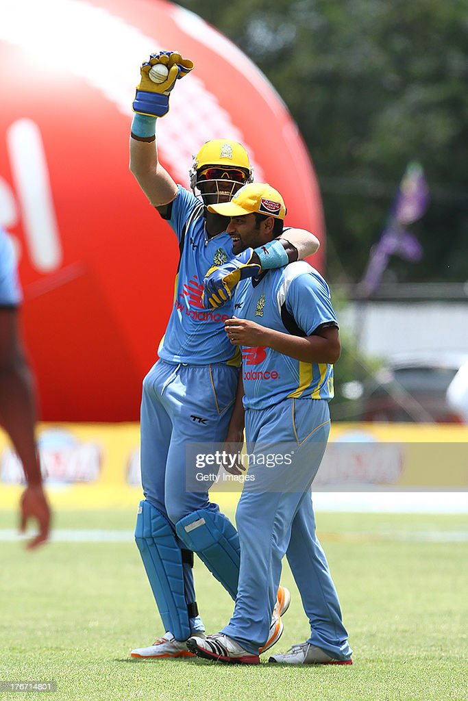 Darren Sammy celebrates having caught Jayawardene during the Eighteenth Match of the Cricket Caribbean Premier League between St. Lucia Zouks v Trinidad and Tobago Red Steel at Sabina Park on August 17, 2013 in Kingston, Jamaica.